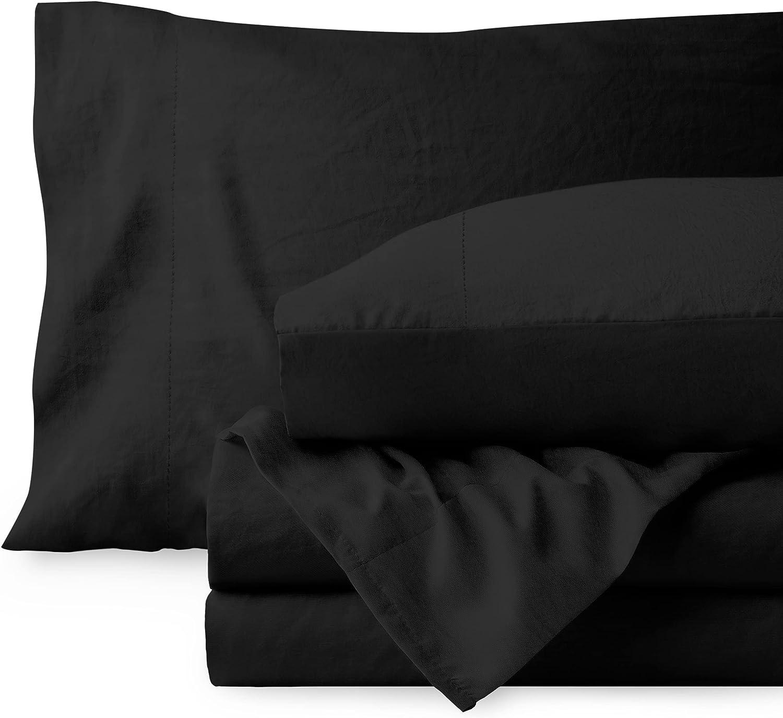 Bare Home Sandwashed Twin Sheet Set - Premium 1800 Ultra-Soft Microfiber Twin Bed Sheets - Incredible Softness - Deep Pocket - Bedding Sheets & Pillowcases (Twin, Sandwashed Black)