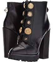 Dolce & Gabbana - Leather Bootie with Button Lace-Up