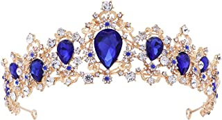 Frcolor Tiara Crown for Women,Rhinestone Tree Branch Queen Crowns Wedding Tiaras Crowns Headband (Blue)