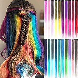 ColorfulPanda 20 Piezas Recta Extensiones de Cabello Colorido con Clip para Mujeres, Extensiones de Pelo Natural 20 Ombre ...