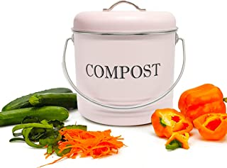 RELIANCER Compost Bin with 8 Free Charcoal Filters 1.3 Gallon 5 Liter Dual Layer Powder-Coated Carbon Steel Compost Bucket...