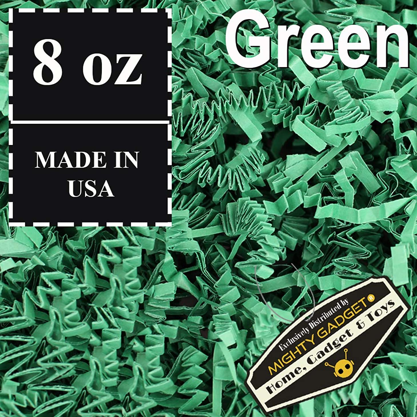Mighty Gadget (R) 1/2 LB Green Crinkle Cut Paper Shred Filler for Gift Wrapping & Basket Filling
