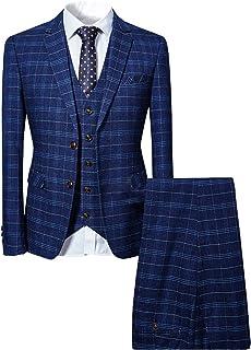 Mens Suits 3 Piece Slim Fit Checked Suit Blue/Black Single Breasted Herringbone Vintage Suit Tuxedo Formal Business Jacket...