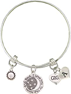 Custom Gigi Love You to The Moon Silver Bracelet Choose Initial Charm Gift