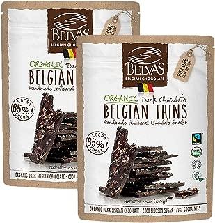 Belvas Belgian Thins Organic Dark Chocolate, Coco Sugar Sweetened 4.23 oz - 2Pk