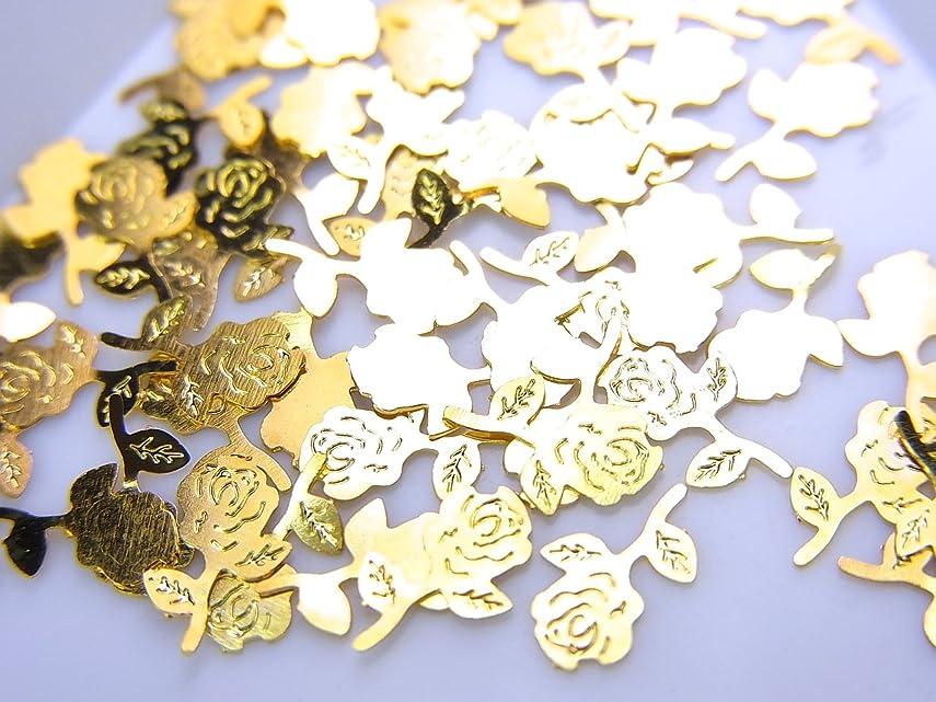 アナログアコード遵守する【jewel】薄型ネイルパーツ ゴールド 薔薇 バラ10個