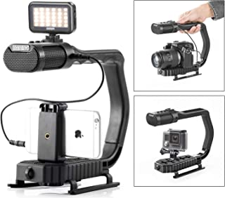 Movo MicRig-W1 Wireless Microphone LED Light Filmmaker Bundle Mirrorless Cameras Android Smartphones Video Handle Camera Stabilizer with Wireless Lavalier Microphone Compatible with DSLR iPhone