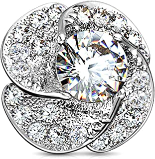 14G CZ Paved & Round CZ Center Rose Blossom 316L Surgical Steel Internally Threaded Dermal Anchor Top