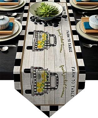 Meet 1998 Cotton Linen Table Runners Truck Lemon Farm Tablecovers for Kitchen Garden Black Check Wedding Parties Dinner Indoo