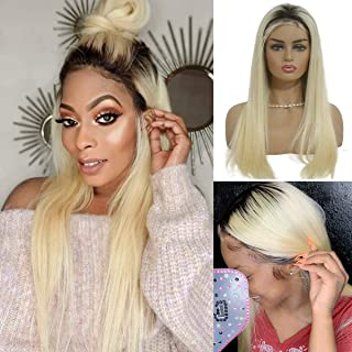 Ombre Lace Frontal Wigs 16 Inch Straight Human Hair Lace Front Blonde Wig with Dark Roots 13x6 Deep Part Glueless 1B613 Ombre Wig 150% Density Bleached Knots