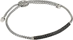 Classic Chain 2.5 mm. Mini Chain Pull Through Bracelet with Black Sapphire and Black Spinel