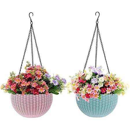 Livzing Hanging Flower Pot, Rattan Baskets With Hook Chain, Water Reservoir And Drainage Plug For Home Gardener Grower Planter Office Balcony - 2 Pack