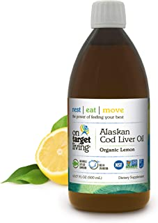On Target Living Alaskan Cod Liver Oil Organic Lemon Flavor 16.67 oz | Made in The USA | Rich in Omega 3 DH...