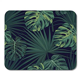 Emvency Mouse Pads Leaf Dark Tropical Jungle Plants Pattern Green Sabal Palm and Monstera Leaves Tropic Mousepad 9.5
