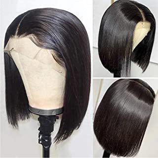 Short Lace Front Wigs Human Hair Brazilian Straight Bob Wigs for Black Women 13x4 Short Bob Wigs 150% Density Pre Plucked Hair Line with Baby Hair 10 inches Natural Color