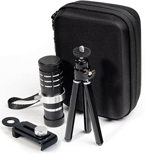 discount Telephoto Cell Phone Lens by WGear, 12X HD Zoom Lens Kit with 30mm lowest Wide Angle Macro Lens, Sturdy online sale Travel case, Professional Stand Kit and Stand Mount for Universal Smartphone iOS, Android and Others sale