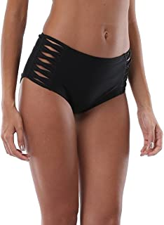 Women's Strappy Bikini Bottom Solid Black Swim Shorts Briefs