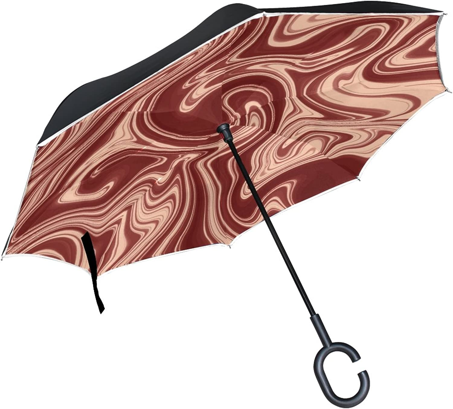 Double Layer Ingreened Fractal Abstraction Texture Umbrellas Reverse Folding Umbrella Windproof Uv Predection Big Straight Umbrella for Car Rain Outdoor with CShaped Handle