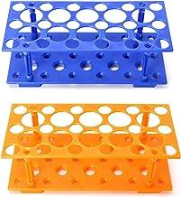 قفسه آزمایشگاه پلاستیکی QWORK 2 Pack ، نگهدارنده آزمایشگاه لوله سانتریفیوژ برای 10 میلی لیتر / 15 میلی لیتر / 50 میلی لیتر ، آبی و نارنجی