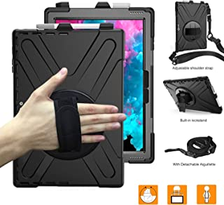 BRAECNstock Microsoft Surface Pro 6/Pro 5/Pro 4/Pro LTE Case, Military Protective Rugged Cover Case with Pen Holder,Kickstand,Handle and Shoulder Strap, Not Compatible with Type Cover Keyboard (Black)