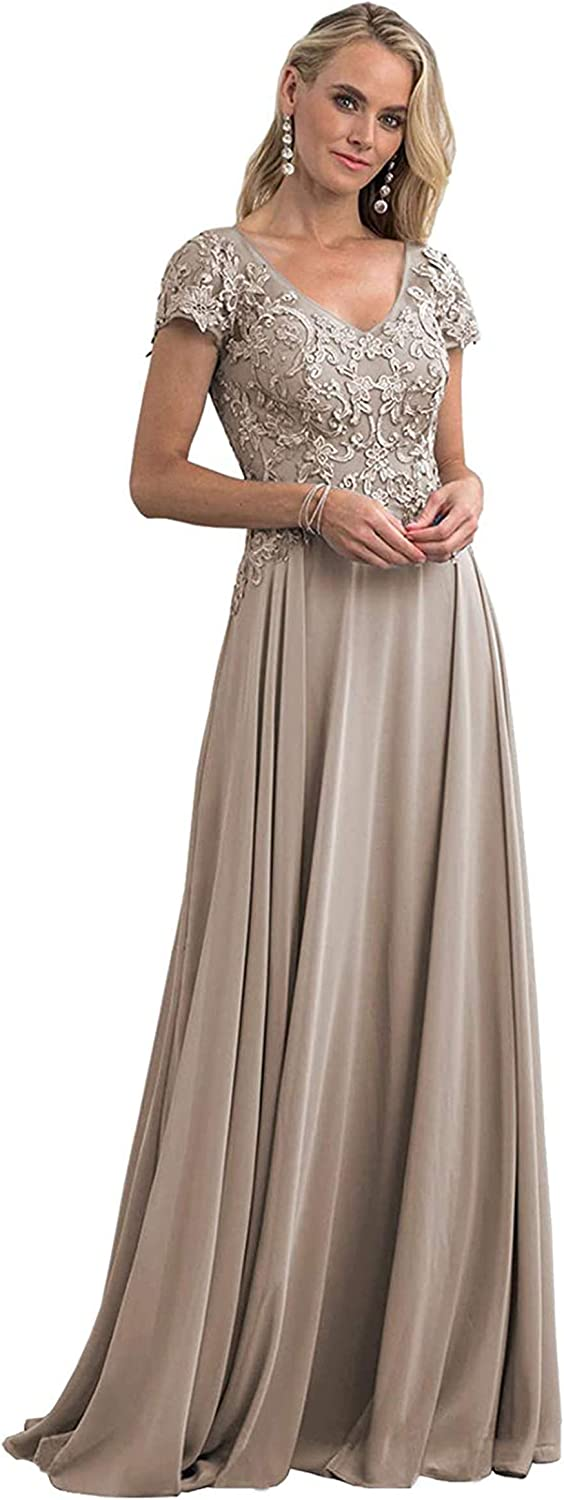 AKHOKA Women's Lace Appliques Long Mother of The Bride Dress Chiffon Evening Gown with Sleeves