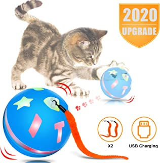 uniwood Interactive Cat Toy Ball,  USB Rechargeable Motion Ball,  360 Degree Self Rotating Ball with Red LED Light,  for Kitty's Indoor Play and Exercise