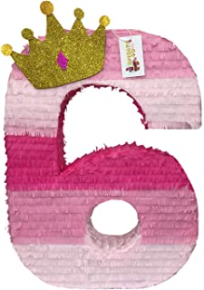 APINATA4U Large Number Six Pinata with Gold Glitter Crown Princess Theme Party Favor