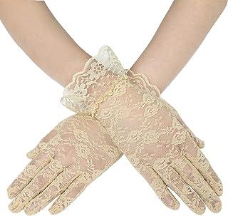 Coucoland Damen Lace Handschuhe Spitze Braut Hochzeit Handschuhe Opera Fest Party Handschuhe Damen Fasching Kostüm Accessoires
