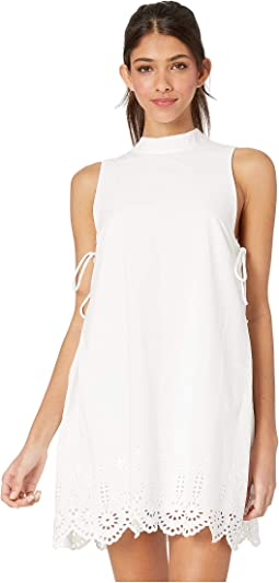 Cocktail Embroidered Mock Neck Woven Dress