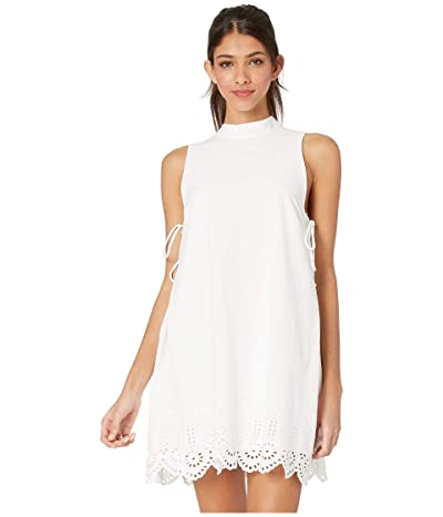 BCBGeneration Cocktail Embroidered Mock Neck Woven Dress (Optic White) Women