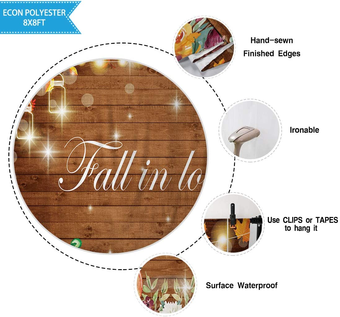 Allenjoy 7x5ft Fall in Love Theme Photography Backdrop for Wedding Party Decor Background Gold Glitter Lights Autumn Maple Leaves Pumpkin Rustic Wood Banner for Bridal Shower Photo Booth Props