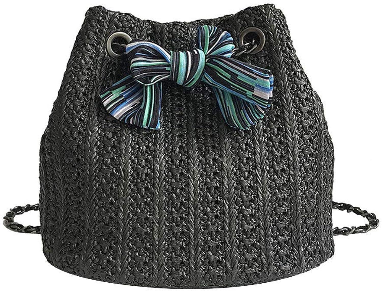 Bloomerang DCOS Women Ladies Straw Beach Shoulder Bag Summer Holiday Tote Shopping Handbag Purse color Black