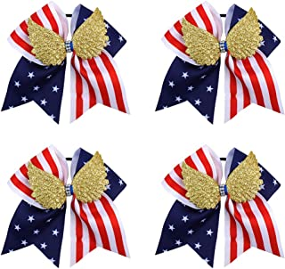 American USA Flag Cheer Bows, Baby Girls Cheer Bows Red White and Blue Patriotic Flag Festival Hair Bow With Elastic Band Hair Accessories 4pcs