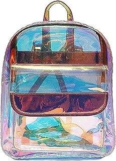 Kingrock Women Girls Transparent Shiny Backpack Clear PVC School Book Bag