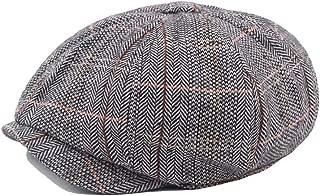 Bin Zhang Outdoor Beret Cap Autumn Winter Wool Ladies Cotton And Linen Lattice Octagonal Cap Men's Cap Beret Octagonal Hat Newspaper Hat