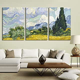 wall26 3 Panel Canvas Wall Art - Wheat Field with Cypresses by Vincent Van Gogh - Giclee Print Gallery Wrap Modern Home Decor Ready to Hang - 16