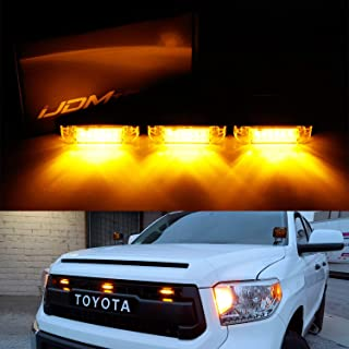 iJDMTOY 3pc Amber LED Center Grille Running Light Kit For 2014-up Toyota Tundra w/TRD Pro Grill (Amber Lens w/Wiring and Hardware)