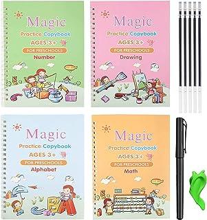 Magic Practice Copybook for Kids, 4 Pcs Reusable Magical Calligraphy English Study Workbooks Tracing Handwriting Copybook ...