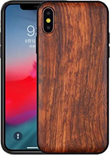 Boogice iPhone X/XS Wood Case - Real Natural Rosewood- Slim Shockproof Hybrid Cover for iPhone X(10),XS(Rosewood)
