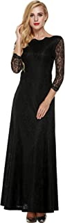 Women's Retro Floral Lace 2/3 Sleeve Formal Evening Gowns Maxi Dress