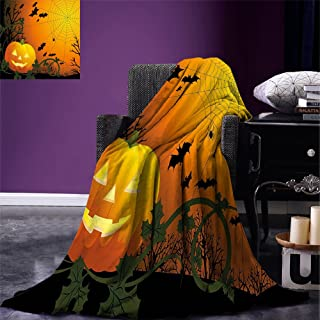 smallbeefly Spider Web Super Soft Lightweight Blanket Halloween Themed Composition with Pumpkin Leaves Trees Web and Bats Oversized Travel Throw Cover Blanket Orange Dark Green Black