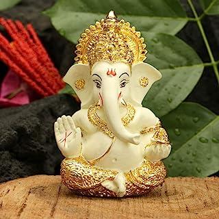 CraftVatika Gold Plated Terracotta Lord Ganesha Figurine for Car Dashboard Ganesh Statue Ganpati Gifts Home Office Decor (...