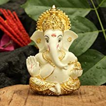 CraftVatika Gold Plated Terracotta Lord Ganesha Figurine for Car Dashboard Ganesh Statue Ganpati Gifts Home Office Decor (...