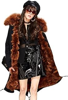 Melody Women's Winter Detachable Real Fox Fur Lined Parka Hooded Coat Luxurious Maxi Long Jacket
