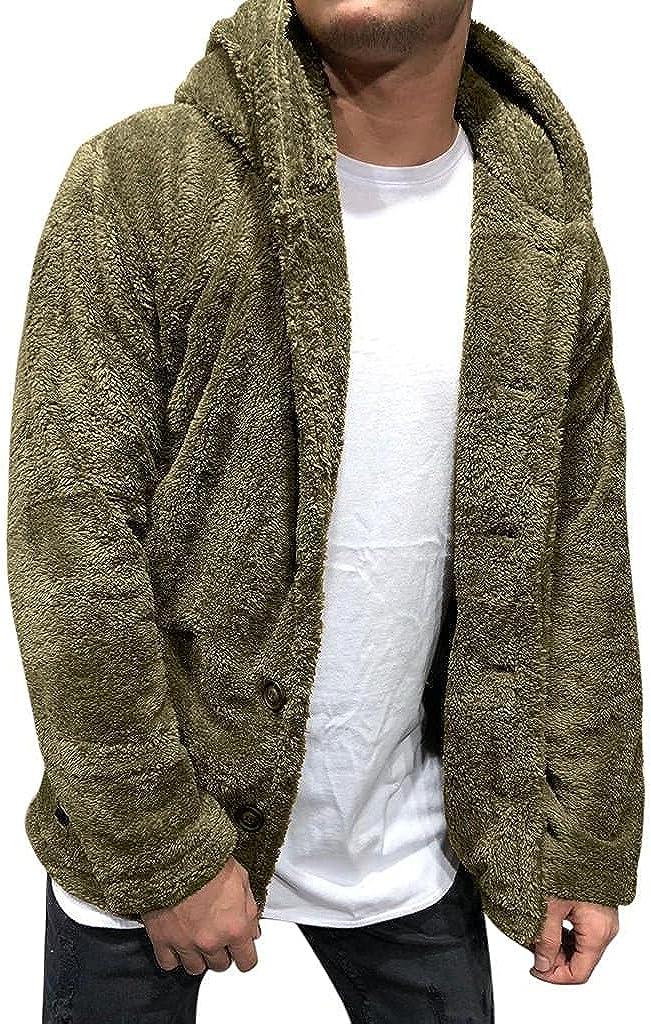 Mens Fleece Hoodie Cardigan Casual NEW before selling Weekly update Jac Hooded Plush Fuzzy Sherpa