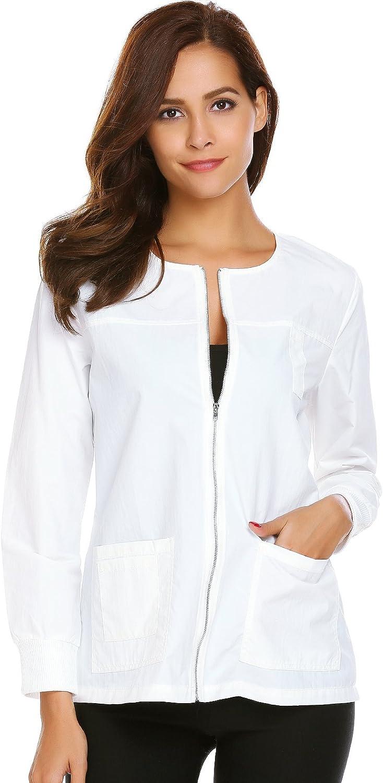 SE MIU Women's 4 Pkt Round Workwear Zip Front Scrub Warmup Jacket