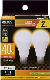 朝日電器 ELPA LED電球 2個セット ミニクリプトン球形 口金E17 40W形 電球色 5年保証 LDA4L-G-E17-G4104-2P