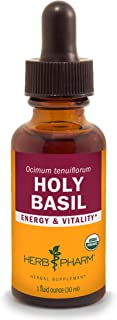 Herb Pharm Certified Organic Holy Basil (Tulsi) Liquid Extract for Energy and Vitality - 1 Ounce