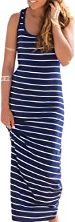 Women's Cotton Plain Sleeveless Casual Long Tank Dress