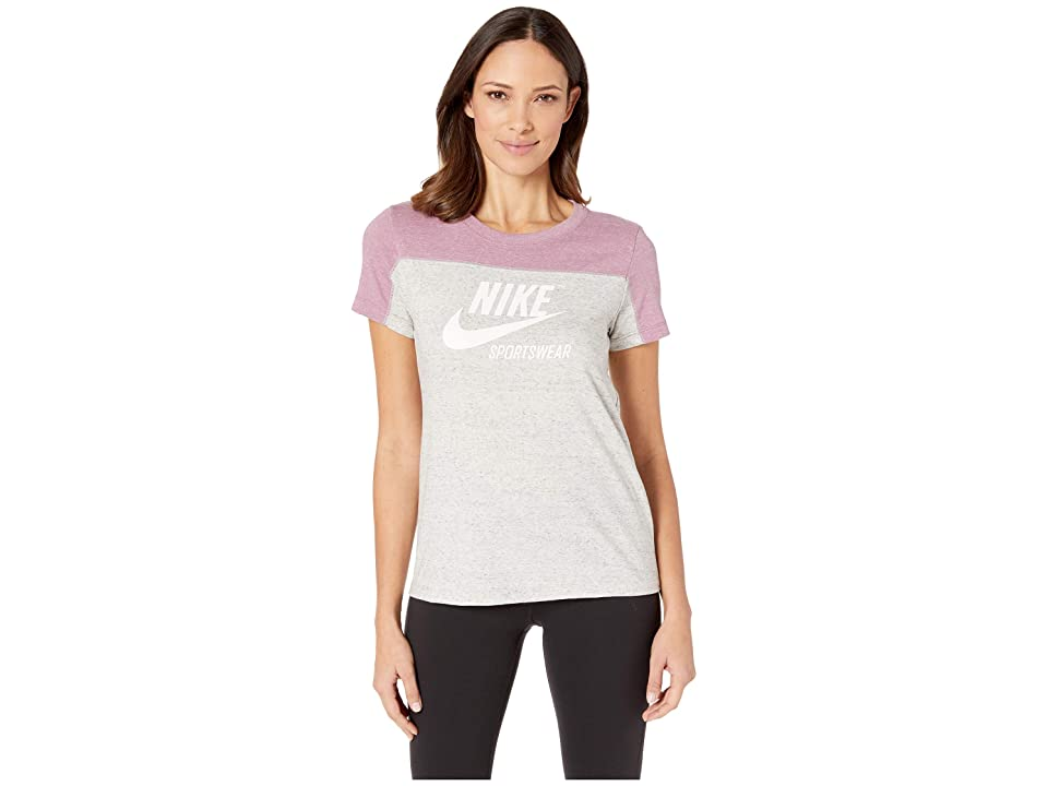 Nike Sportswear Gym Vintage Top Short Sleeve Graphics (Plum Dust/Grey Heather/Wolf Grey/Sail) Women